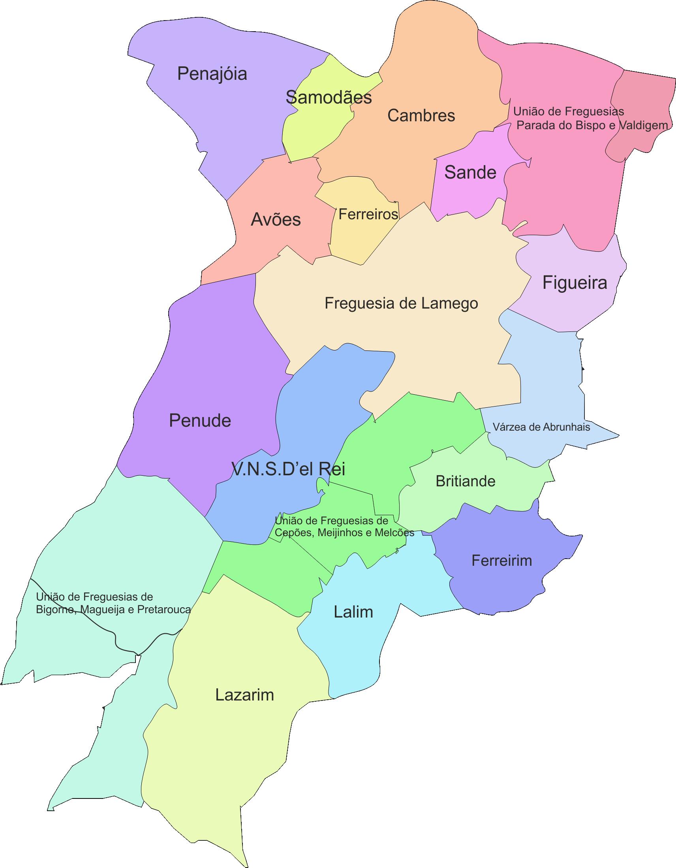 Mapa das Freguesias do Concelho de Lamego